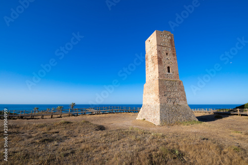 ancient Thieves Tower, from year 1500, in Artola Dunes, in Cabopino of Marbella Fototapeta