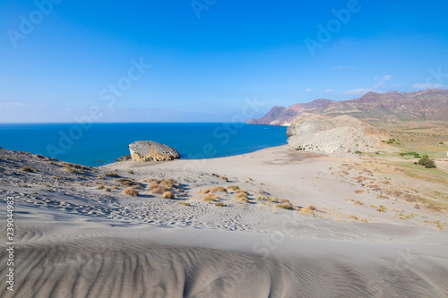 awesome scenic of Monsul Beach from top of the dune, in Gata Cape Natural Park (Cabo de Gata in Spanish), wild and famous destination in Almeria (Nijar, Andalusia, Spain, Europe)