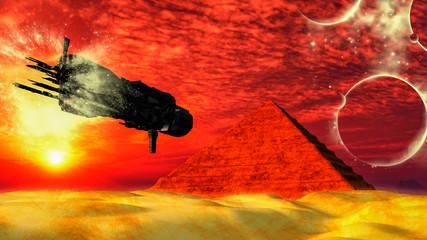 UFO Spaceship Flying toward...