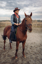 Cowboy In Leather Clothes Riding A Horse On Farm