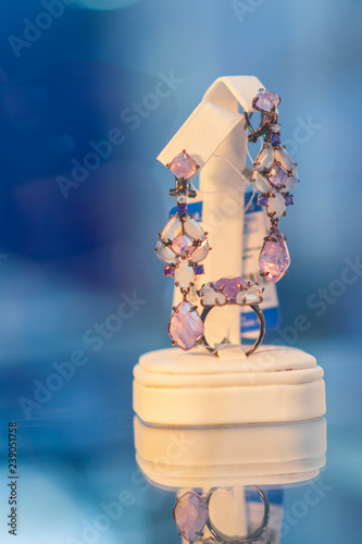 Fotografie, Obraz  earrings and ring with precious stones