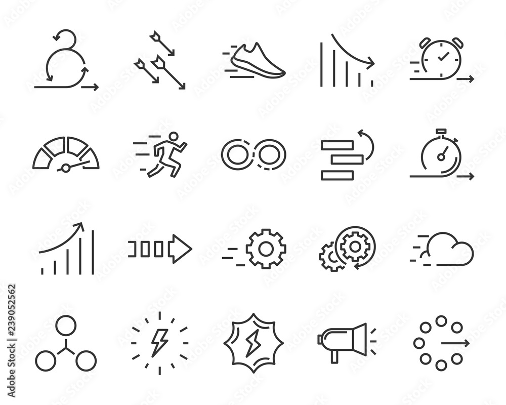 Fototapeta simple set of agile vector line icons, contain such lcon as speed, agile, boost, process, time and more
