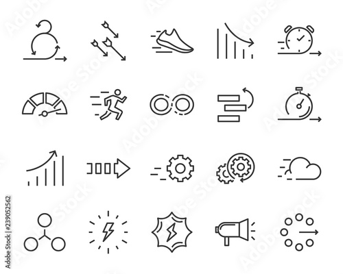 simple set of agile vector line icons, contain such lcon as speed, agile, boost, Canvas Print