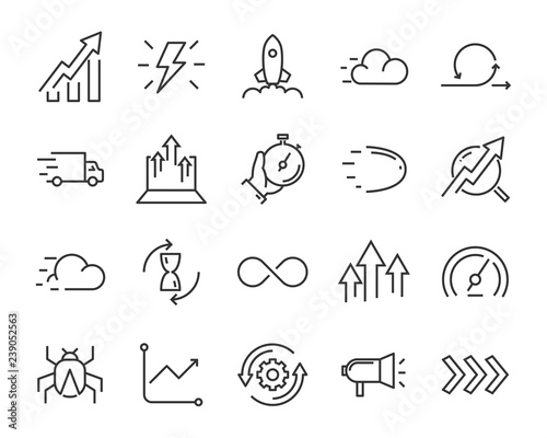 simple set of agile vector line icons, contain such lcon as speed, agile, boost, Wallpaper Mural