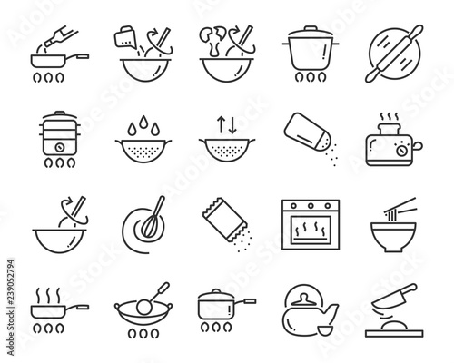 Photo  set of cooking icons, such as bake, boil, heat, fries, mixer