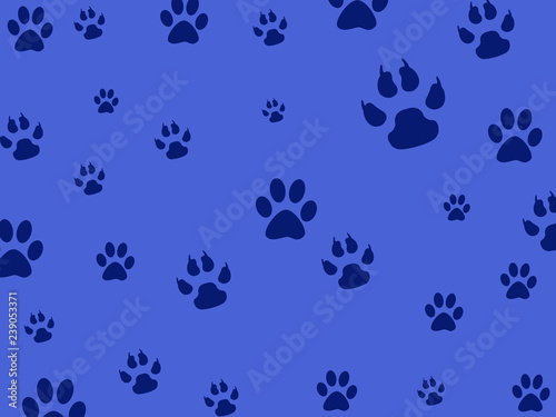 Photo  Blue background with imprints of animals