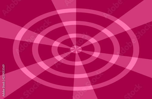 Poster Magie True red background with circles and lines