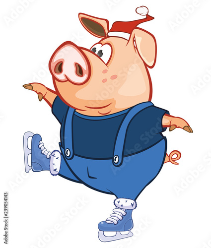Deurstickers Babykamer Vector Illustration of a Cute Pig. Cartoon Character
