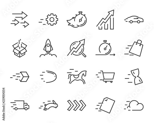 Photo simple set of agile vector line icons, contain such lcon as speed, agile, boost,