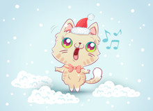 Kitty On Snow In Kawaii Style