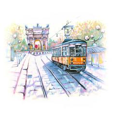 Poznati vintage tramvaj u Milanu, Lombardia, Italija