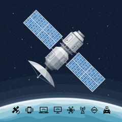 Space communication flat satellite orbiting the earth. Concept with GPS radar, solar panel and dish on a background.