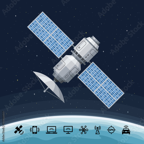 Obraz Space communication flat satellite orbiting the earth. Concept with GPS radar, solar panel and dish on a background. - fototapety do salonu