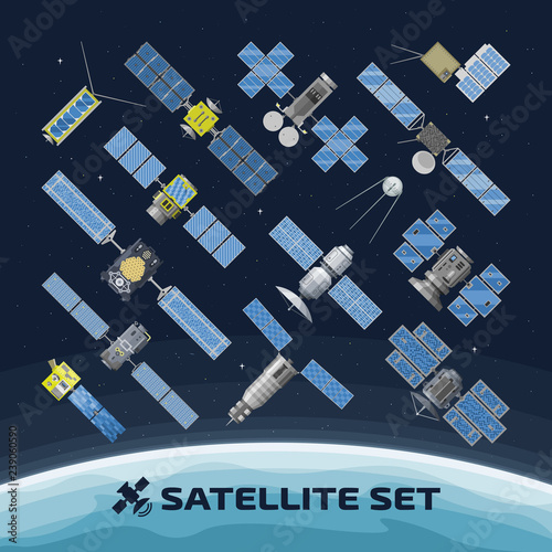 Fotografía  Flat vector isolated illustration of communication satellite on a space background