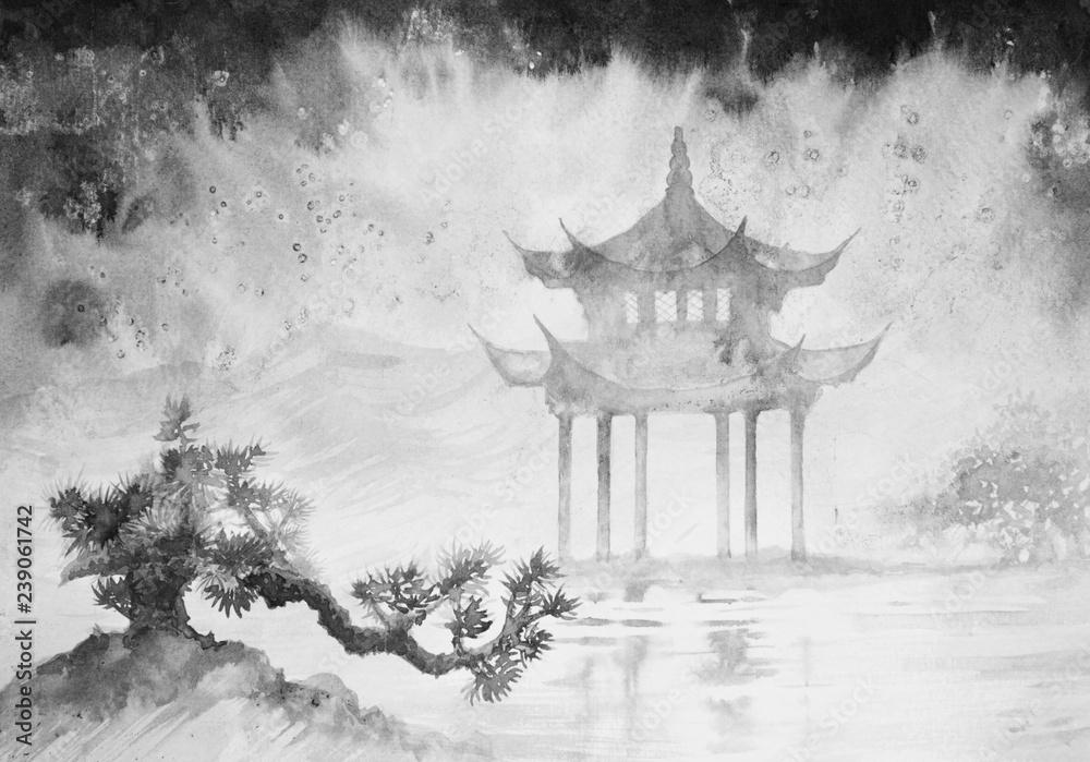 Fototapeta Chinese, Japanese ink painting, weather, nature, landscape, bonsai, Feng Shui. rainy day.