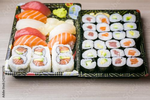 Fotografie, Obraz  Sushi and Sashimi rolls