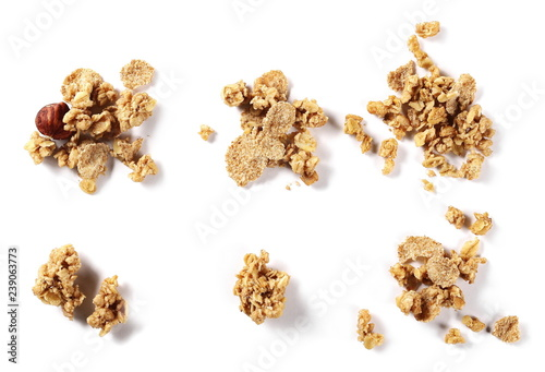 Cuadros en Lienzo Set crunchy granola, muesli pile with nuts isolated on white background, top vie