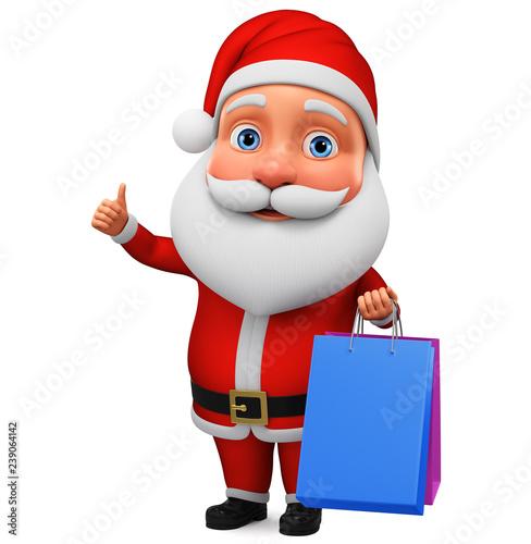 Fotografia  Character Santa Claus shows thumb up and holds shopping