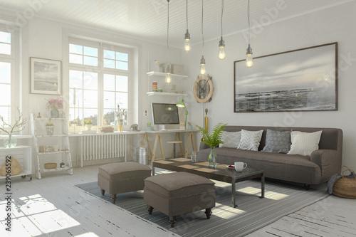 Obraz na plátně  Skandinavische, nordische Wohnung - Wohnzimmer