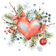 Winter Christmas Watercolor Natural Greeting Card With Red Heart, Holly, Snowflakes, Branches, Berries, Spruce