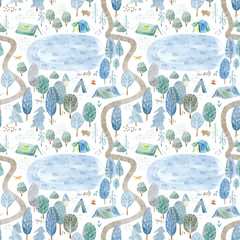 Fototapeta Do pokoju dziecka Seamless pattern of a camping,lake,road,fox,wolf,bear in the woods.Tent, trees, bonfire, plants and floral.Landscape tourism.Watercolor hand drawn illustration.White background.