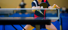 Close Up Of A Table Tennis Player Returning