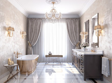 Classic Luxury Bathroom With Marble Floor