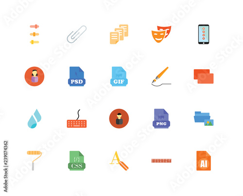 20 icons related to AI, Ruler, Text editor, Css, Roller, Smartphone