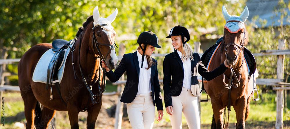 Fototapeta Two girls rider stands near a horse. Horse theme