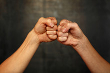 Two Woman Hands With Fists In ...