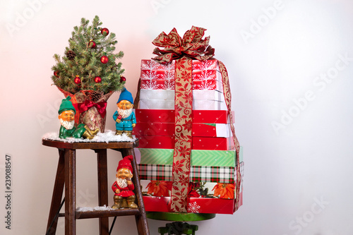 Trio Of Vintage Ceramic Elves With A Christmas Tree Buy This Stock