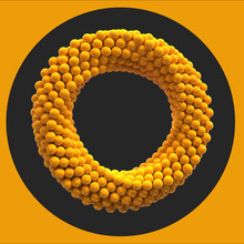 Infinite Twisted Rotating Yellow Torus Loop Made From Spheres On Black And Yellow Circle Background. Cg Rendered 3d Scene