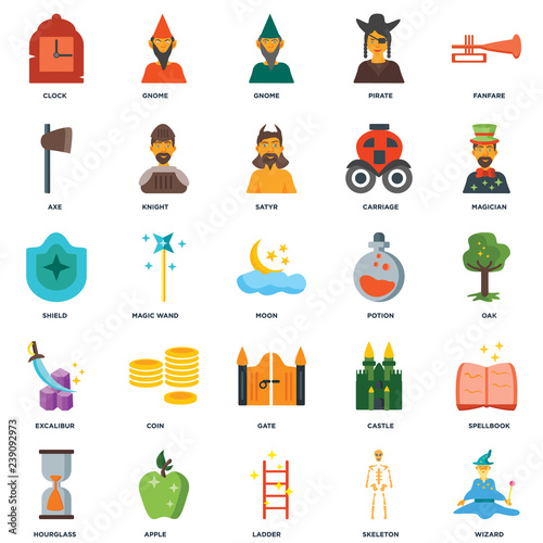 Set Of 25 icons such as Wizard, Skeleton, Ladder, Apple, Hourglass