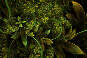 Abstract computer generated plant fractal design. Digital artwork for tablet background, desktop wallpaper or for creative cover design.