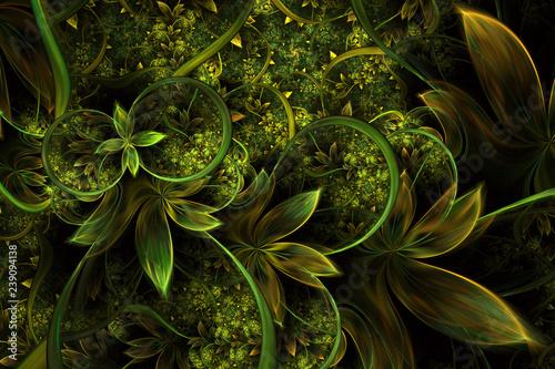 Obraz Abstract computer generated plant fractal design. Digital artwork for tablet background, desktop wallpaper or for creative cover design. - fototapety do salonu