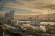 canvas print picture Hamburg Skyline mit Blick auf die Elbphilharmonie