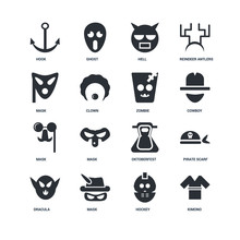 Set Of 16 Icons Such As Kimono...