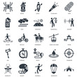 Simple Set of 25 Vector Icon. Contains such Icons as Tent, Parachute, Football, Helmet, Mosquito, Archery, Cable car cabin, Route, Axe, Lighter, Kayak, Water. Editable Stroke pixel perfect