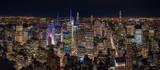 Fototapeta Nowy Jork - Aerial View of Downtown Manhattan Night Skyline Towards Central Park