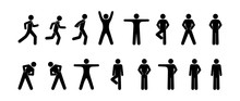 Fitness Icon, Stick Figure Set Of Silhouettes Of People Involved In Sports, Pictogram Man