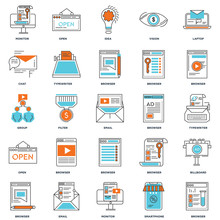 Set Of 25 Icons Such As Browser, Smartphone, Monitor, Email, Open, Chat, Idea, Open Icon