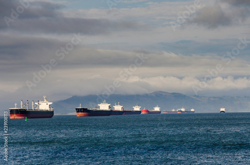 Photo Empty container ships on Columbia River in Astoria, Oregon