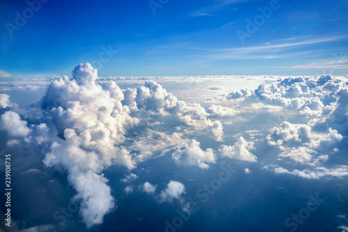 Obraz cloudscape from above, aerial view of blue sky and white cloud - fototapety do salonu