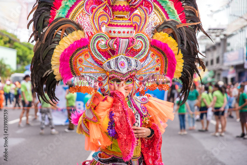 Foto op Canvas Carnaval Colorful smiling mask of Masskara Festival, Bacolod City, Philippines