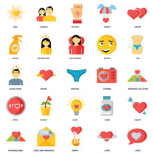 Set Of 25 Icons Such As Love, Heart, Love And Romance, Placeholder, Hip, Camera, Stop, Spray, Tattoo, Couple Icon