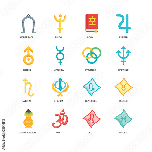 Simple Set of 16 Vector Icon  Contains such Icons as Pisces