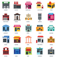 Set Of 25 Icons Such As Embass...