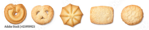 A set of danish butter cookies, cut out. Top view. Fototapete