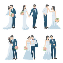 Set Of Wedding Couple, Couple In Love Characters Cartoon For Love Valentine's Day, Holidays, Celebrating Marriage, Romance, Hearts, Date, Sweet, Wedding Flower, Just Married , Newlyweds, Bride, Groom.