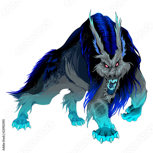 Poster Chambre d enfant Furious werewolf with black and blue mane